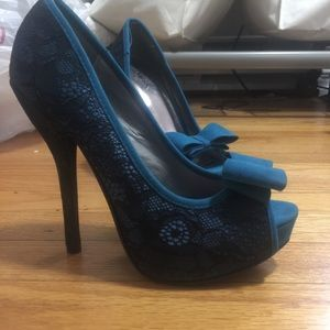 Blue and black lace heels